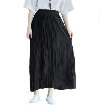 レディースプリーツスカートフレアスカート 綿スカート大人っぽいオールシーズン使える ロングスカート マキシスカート 無地 スカート Aライン 着痩せ フレア (ブラック)
