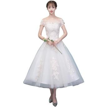 ウエディングドレス 二次会 花嫁 結婚式 ロング ロング 袖あり 優雅 ブライズメイドウェディングドレス (XXL, ベージュ)