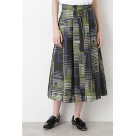 HUMAN WOMAN コットンシルクプリントスカート ≪Rue dieu a la HUMAN WOMAN≫ ひざ丈スカート,グリーン系3