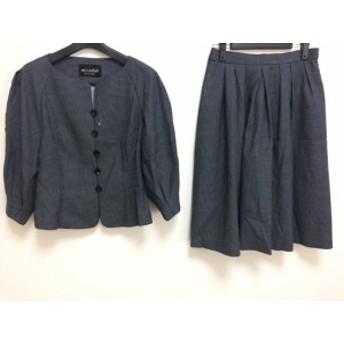 ミスアシダ miss ashida スカートスーツ サイズ11 M レディース ダークネイビー×白 ドット柄【中古】