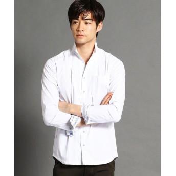 ニコルクラブフォーメン 裏ストライプ柄イタリアンカラーシャツ メンズ 09ホワイト 50(LL) 【NICOLE CLUB FOR MEN】