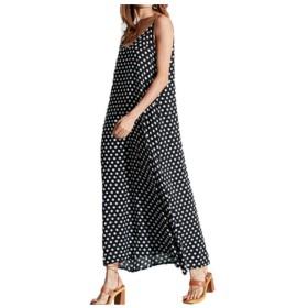 Beeatree Women's Pockets Floral Printed Fashion Swing V-Neck Long Maxi Dress Black 2XL