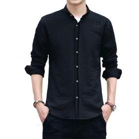 メンズ シャツ 長袖 スタンドカラーシャツ 無地 カジュアルシャツ 立て襟 ハンドカラー クールビジ 春秋 3XL ブラック