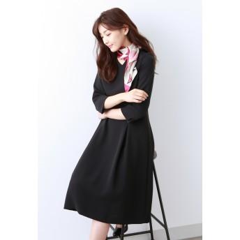 AMACA アマカ 【Sサイズ~】トリアセテートストレッチ ドレス ワンピース,ブラックネイビー