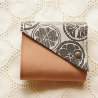 二つ折り財布 -tutumu- (家紋ゴールド×ネイビー)