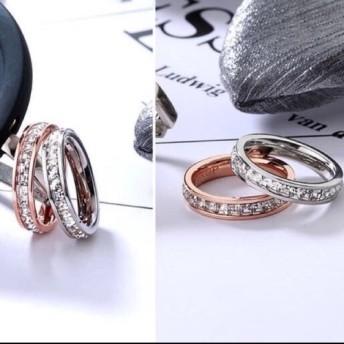 キラキラスワロ荒れない錆びない剥げないリング指輪