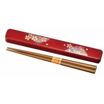 箸箱セット お弁当用 和 和風 箸 箸箱 セット 箸・箸箱セット 花あかり 朱 M15294