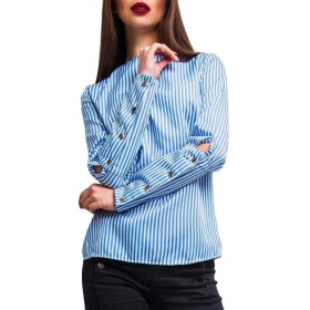 chenshiba-JP Women's Round Neck Chiffon Blouse Long Sleeve Solid Casual Blouse Tops Shirt 1 L
