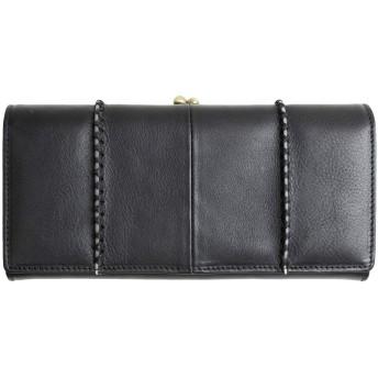[MIRACOLO] がま口財布 レディース 本革 長財布 大容量 がまぐち イタリアンレザー 財布 牛革 小銭入れ カード入れ ひも付き ブラック
