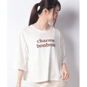 【48%OFF】 アラマンダ ロゴ5分袖Tシャツ レディース オフホワイト 38 【allamanda】 【セール開催中】