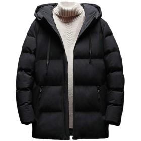 chenshiba-JP メンズ冬は、フード付きコットンコートパフアウトジャケットジャケット black L
