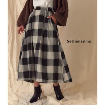 ANAP(アナップ)ブロックチェックフレアマキシ丈スカート