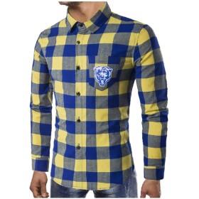 Beeatree メンズチェック柄ソックスベアープラスサイズイギリスボタンダウンシャツ Yellow M
