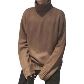 cheelot メンズセーター純カラータートルネックファッション暖かいプルオーバーニット Brown M