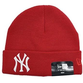 ニューエラ ニット帽 NEW ERA Kid's ベーシック カフニット ヤンキース レッド × ホワイト 11182779 キッズ 帽子 ビーニー ロゴ 刺繍|フリー レッド×ホワイト