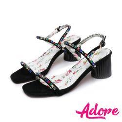 【ADORE】方頭一字寶石鑽帶粗跟涼鞋(黑)