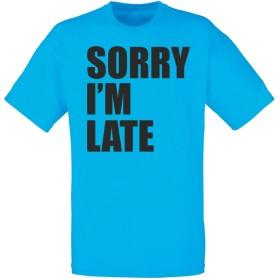 (遅くなってごめんなさい) Sorry I'm Late, メンズ プリント Tシャツ - ブルー/黒 M = 96-101 cm