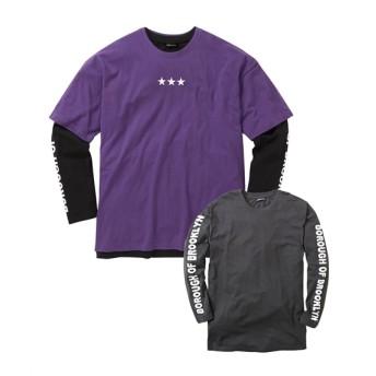 重ね着2点セット(長袖プリントTシャツ+半袖プリントTシャツ) Tシャツ・カットソー