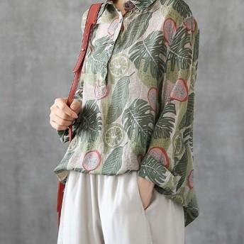 長袖 気質 個性 リネンとコットン ゆったり 薄手 花柄 シャツ レディース 秋