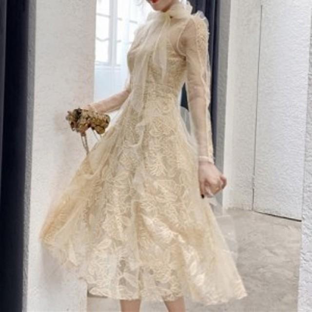 ドレス ワンピース パーティードレス 結婚式 二次会 披露宴 シャンパンゴールド レース シースルー 長袖 リボン ロング丈