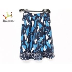 エムズグレイシー スカート サイズ38 M レディース 美品 黒×ブルー×ライトグレー ハート 新着 20190827