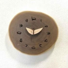 壁掛け時計 かけ時計 木製時計 おしゃれ かわいい 時計 エンジュ 切り株