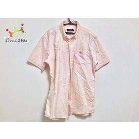 バーバリーブラックレーベル 半袖シャツ サイズ2 M メンズ ピンク×白 ストライプ  値下げ 20191104