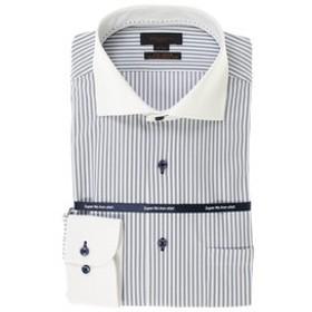 【m.f.editorial:トップス】ノーアイロン高機能 スリムフィットワイドカラー長袖ニットビジネスドレスシャツ/ワイシャツ