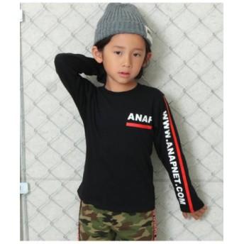(ANAP KIDS/アナップキッズ)ロゴラインプリントロンTee/レディース ブラック