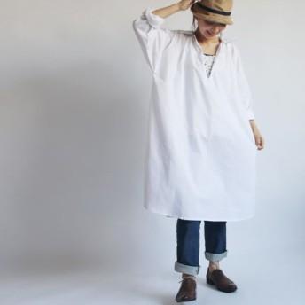 ◆ラスト1点●最終SALE●紗織コットンゆったりロングシャツ スキッパー ワンピース 深スリットVネックR13