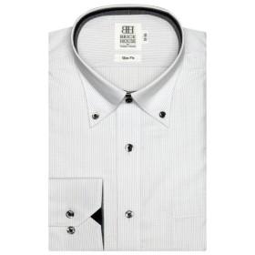 [マルイ] 形態安定 ノーアイロン 長袖ワイシャツ ドゥエボットーニボタンダウン 白×グレーストライプ スリム/ブリックハウス(BRICKHOUSE)