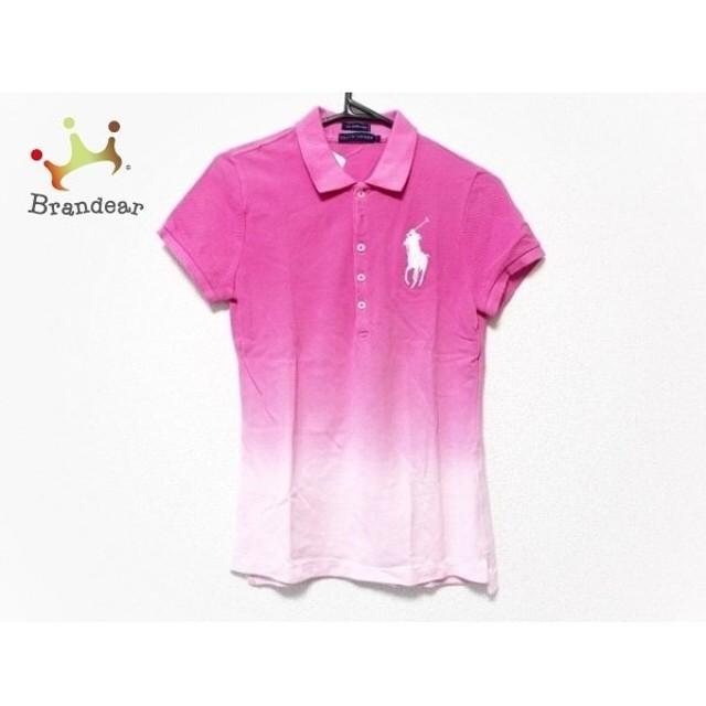 ラルフローレン RalphLauren 半袖ポロシャツ サイズL レディース 美品 ピンク×白 新着 20190827