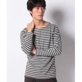 (ikka/イッカ)オーガニックコットンボーダーロングスリーブTシャツ/メンズ ミディアムグレー