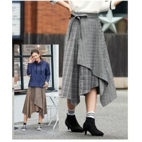 スカート ひざ丈 大きいサイズ レディース チェック柄異素材使いイレギュラーヘム  98〜106 ニッセン