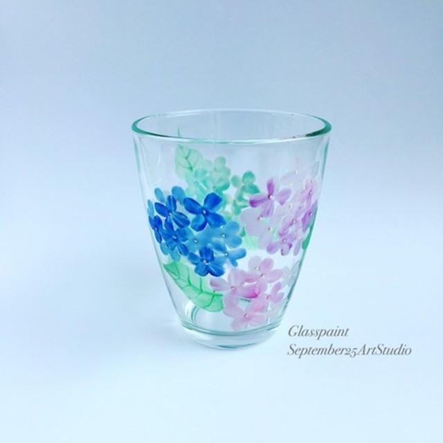 【紫陽花】あじさいアジサイ絵付けグラス1個 母の日・父の日・両親贈呈品・結婚祝い・退職祝い・新居祝い・結婚記念日