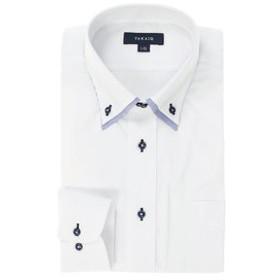 【TAKA-Q:トップス】形態安定レギュラーフィット2枚衿ドゥエボットーニボタンダウン長袖ビジネスドレスシャツ/ワイシャツ