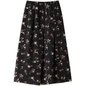 SALE 【40%OFF】 HELIOPOLE エリオポール フラワープリント タックギャザースカート ダークブラウン
