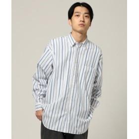 (BEAMS MEN/ビームス メン)BEAMS/ストライプ イージーフィット ミニレギュラーカラーシャツ/メンズ WHITE_ST 送料無料
