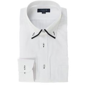【TAKA-Q:トップス】形態安定抗菌防臭スリムフィット ドゥエボットーニマイターカラー長袖ビジネスドレスシャツ/ワイシャツ