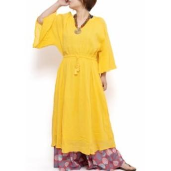 エスニック ワンピース ロング 無地 レディース エスニックファッション アジアンファッション シンプル かわいい おしゃれ