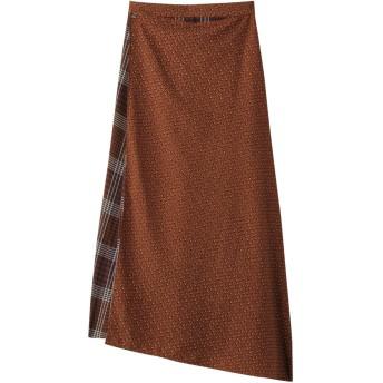 SALE 【60%OFF】 ROSE BUD ローズバッド 柄切り替えアシメトリースカート ブラウン