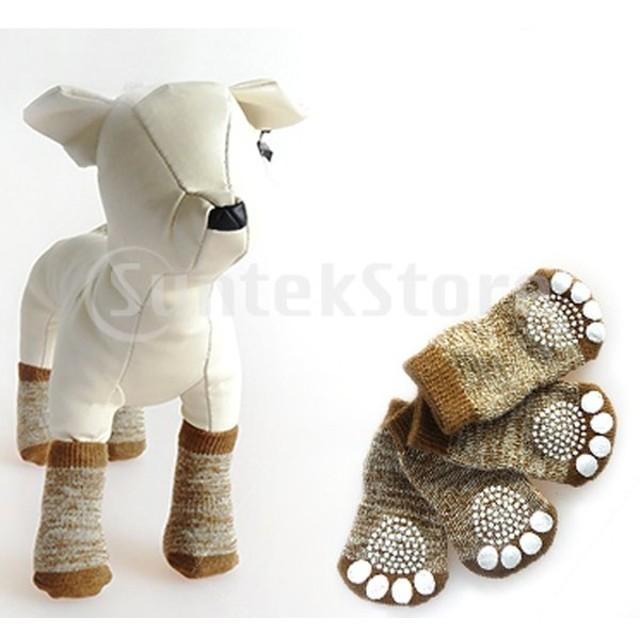 堅木張りの床の屋内摩耗のための8xプロダクトスポーツの足跡ペット子犬犬のソックス