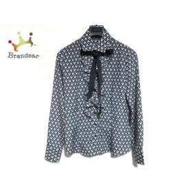 ナラカミーチェ 長袖シャツブラウス サイズ0 XS レディース 美品 黒×グレー×白 リボン/フリル 新着 20190827