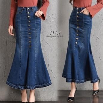 10月上旬発送 スカート 大きいサイズ ロングスカート デニムスカート デニム マーメイドスカート 無地 シンプル マキシ丈スカート ロング マキシスカート フレアスカート切りっぱなし スタイルアップ