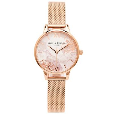 OLIVIA BURTON  愛戀花朵風米蘭帶手錶(OB16VM11)-米色面/30mm