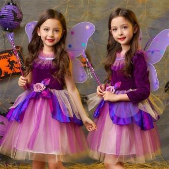 ハロウィン 女の子 衣装 魔女 子供 コスプレ 仮装 キッズ ワンピース 子供 コスチューム 魔法使い キッズ 子供 ワンピ 精霊 女の子 妖精-P497