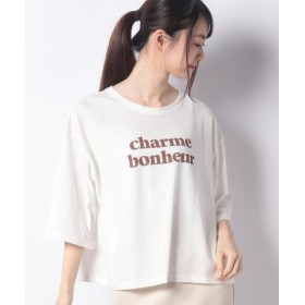 (allamanda/アラマンダ)ロゴ5分袖Tシャツ/レディース オフホワイト