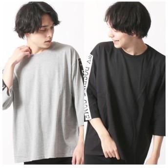 ネクストウォール 「819 00」 メンズ柄込みBIG 7分Tシャツ メンズ 杢グレー系1 M 【NEXT WALL】