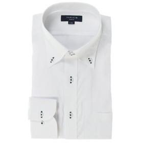 【TAKA-Q:トップス】形態安定抗菌防臭スリムフィット ドゥエボットーニボタンダウン長袖ビジネスドレスシャツ/ワイシャツ