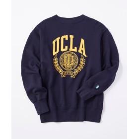 UCLA 【期間限定スウェット2枚目半額 】ロゴプリントビッグシルエットトレーナー レディース ネイビー